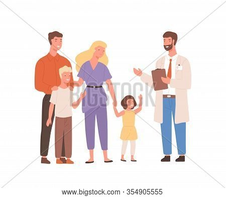 Smiling Cartoon Family Visit Therapist Isolated On White Background. Positive Mother, Father And Two