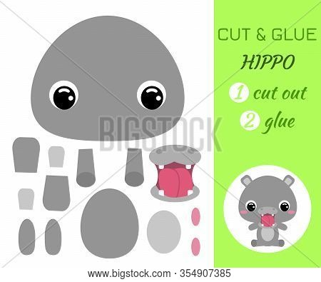 Cut And Glue Baby Sitting Hippo. Color Paper Application Game. Educational Paper Game For Preschool