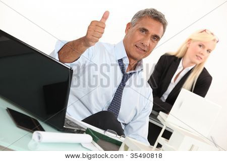 Estate agent with thumbs up poster