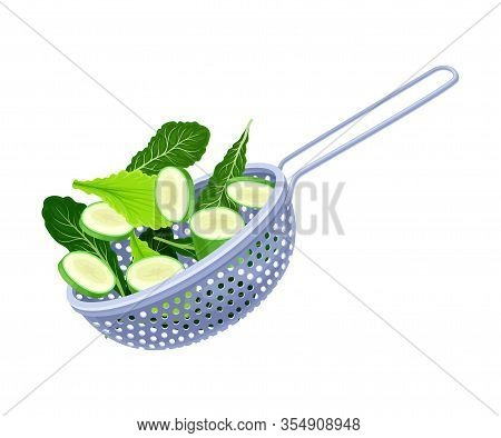 Kitchen Colander Or Strainer Made Of Stainless Steel With Sliced Cucumber And Greenery Inside Vector