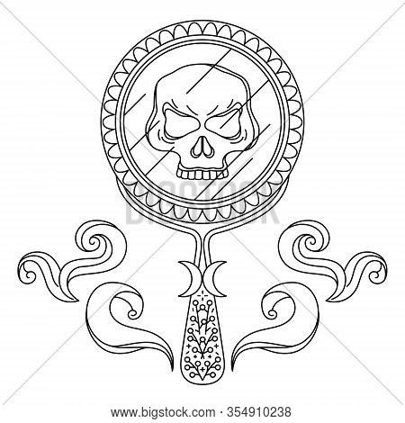 Outline Symbol Of Providence, Oracle. Skull In Hand Mirror With Smoke