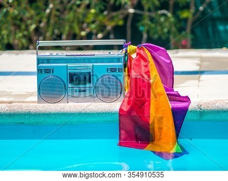 Stock Photo Of A Cassette With An Lgtb Flag. Lifestyle And Lgtb