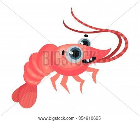 Cute Shrimp Cartoon Character With Big Eyes Vector Illustration