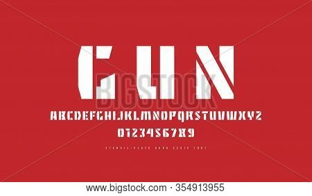 Stencil-plate Sans Serif Font. Letters And Numbers For Military And Sport Logo Design