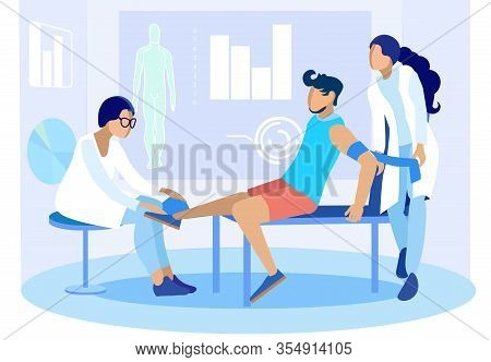 Doctors Help Patient In Case Of Injury. Cartoon People Characters And Emergency Treatment Procedures