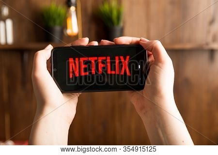 Tula Russia 16.01.20 Netflix On The Phone Display Isolated.