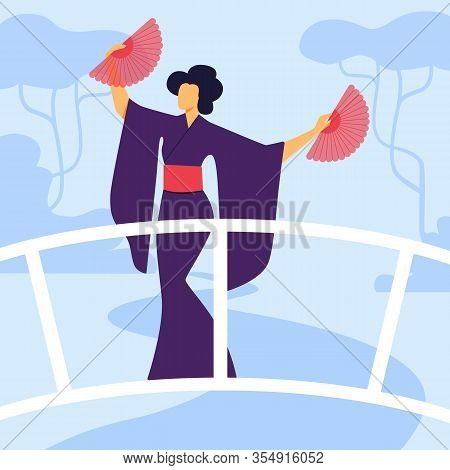 Elegant Geisha In Kimono Flat Vector Illustration. Graceful Female Dancer Cartoon Character. Young W