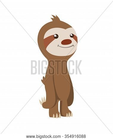 Cute Baby Sloth Standing. Vector Funny Sloth Illustration For Summer Design. Adorable Cartoon Animal