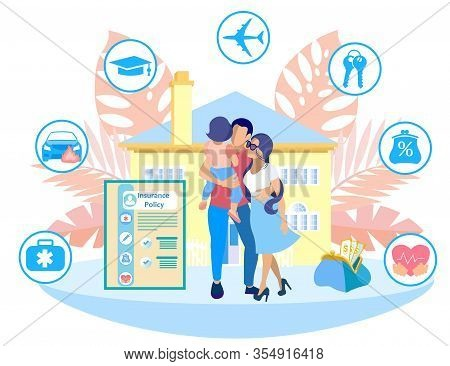 Family On Background Yellow House. Insurance Policy Points. Icons With Insurance Types. Insurance Po