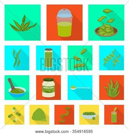 Vector Illustration Of Protein And Sea Symbol. Collection Of Protein And Natural Vector Icon For Sto