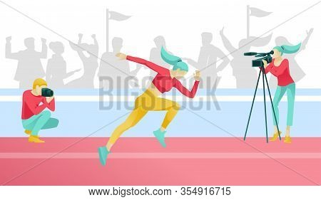 Cartoon Woman Runner Character Jogging. Sport Competitions. Sports Correspondent Recording Video And