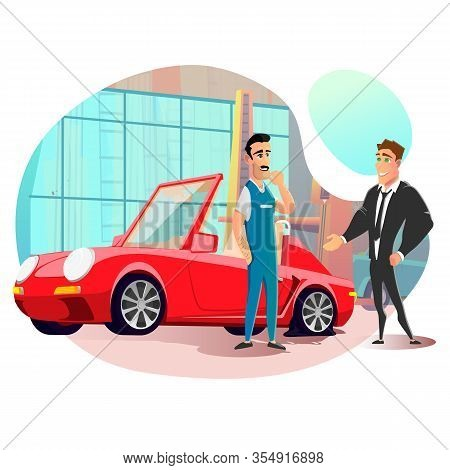 Businessman Visit Tire Repair Service With Flat Tire On Car. Friendly Smiling Master, Serviceman Wel