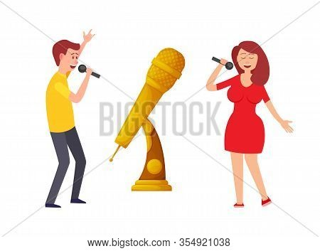 Music Trophy Vector, Gold Microphone And Singers On Live Performance. Singing People On Challenge Ka