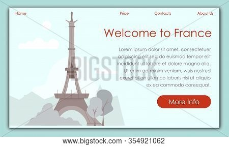 Monitor Screen Savers Website. Welcome To France. Vector Illustration. Service Travel Agency. Touris