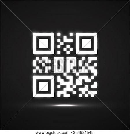Qr Code Neon Icon. Glowing Logo, Barcode Identification. Vector Illustration
