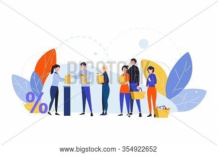 Shopping, Queque, Checkout, Purchasing, Sale Concept. People Customers Queue At Cash Register In Foo