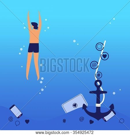 Vector Concept Of Digital Detoxification. The Boy Swims And Leaves Her Laptop And Smartphone At The
