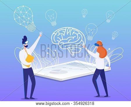 Cartoon Businessman And Businesswoman In Vr Glasses Brainstorming. Briefing Idea Process. Flat Virtu