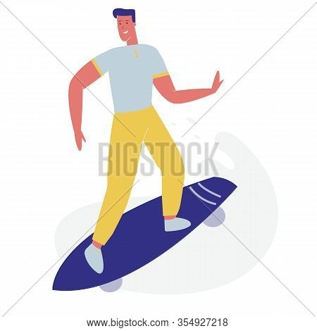 Young Guy In Modern Fashioned Clothing Riding Skateboard. Skateboarder Man Character, Skateboarding
