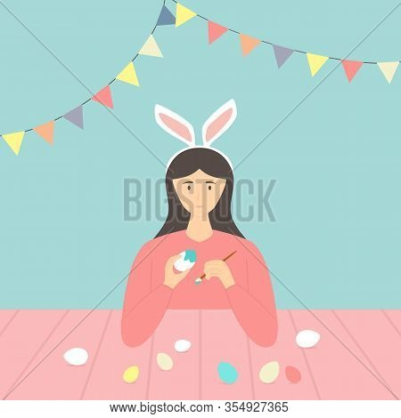 Happy Easter Theme. Cute Girl With Rabbit Ears Decorates Eggs. Holiday Illustration In Flat Cartoon