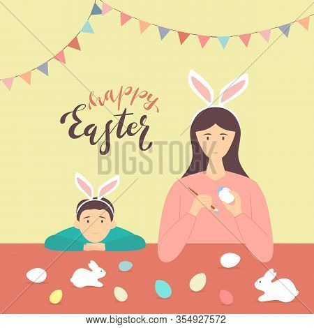 Happy Easter Theme. Mother And Son With Rabbit Ears Decorate Eggs. Holiday Illustration In Flat Cart