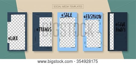 Mobile Stories Vector Collection. Blogger Modern Design, Social Media Kit Template. Funky Sale, New