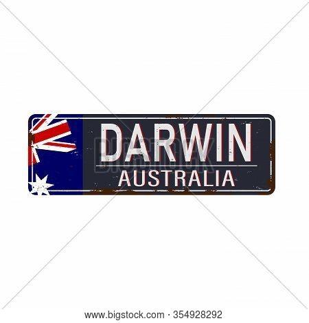 Darwin Road Sign Vector Illustration, Road Table