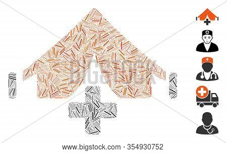 Hatch Mosaic Based On Field Hospital Icon. Mosaic Vector Field Hospital Is Designed With Randomized