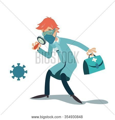 Doctor Virologist Character With Magnifying Glass And Cartoon Design Vector Illustration