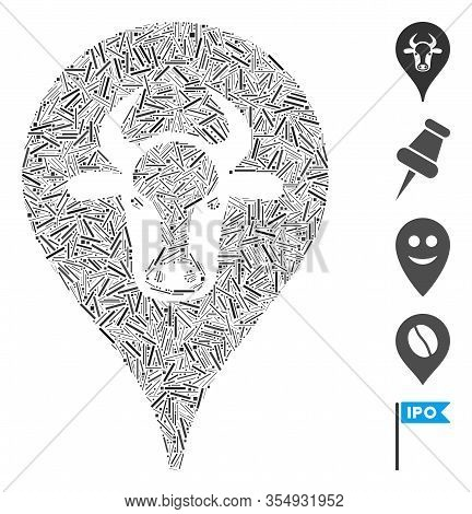 Line Mosaic Based On Cattle Marker Icon. Mosaic Vector Cattle Marker Is Designed With Scattered Line