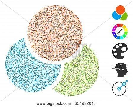 Line Mosaic Based On Rgb Color Circles Icon. Mosaic Vector Rgb Color Circles Is Composed With Random