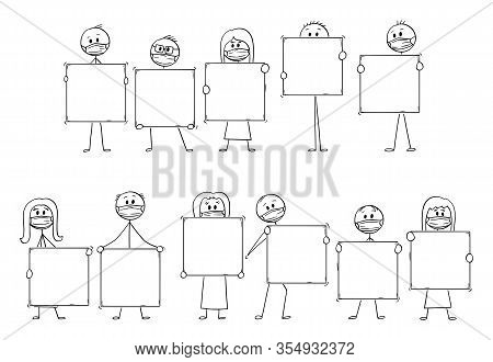 Vector Cartoon Stick Figure Drawing Conceptual Illustration Of Set Or Group Of People Wearing Face M