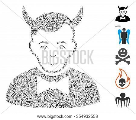 Line Mosaic Based On Devil Icon. Mosaic Vector Devil Is Designed With Randomized Line Items. Bonus I