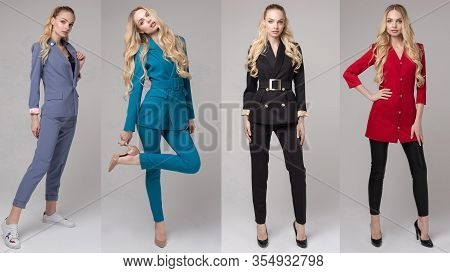 Collage Of Attactive Model Wearing Different Stylish Outfits.
