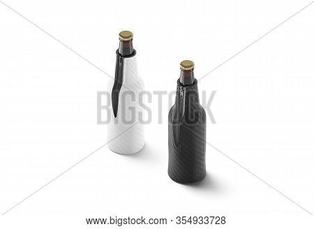 Blank Black And White Collapsible Beer Bottle Koozie Mock Up, 3d Rendering. Empty Kozie Holder For G