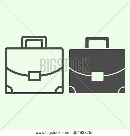 Briefcase Line And Solid Icon. Student Personal Case Outline Style Pictogram On White Background. Ha