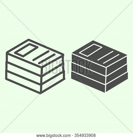 Office Folders Line And Solid Icon. Stack Of Binders Outline Style Pictogram On White Background. Sc