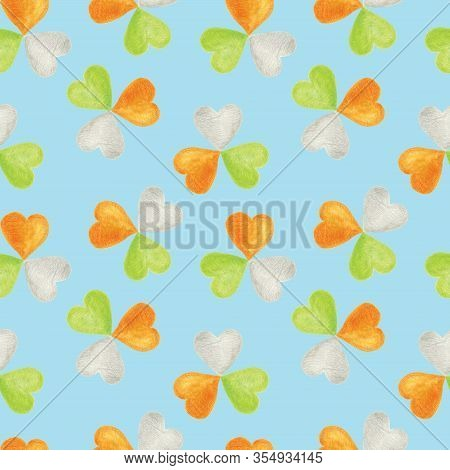 Seamless Pattern With Shamrocks In The Colors Of The Irish Flag. Background For Saint Patricks Day A