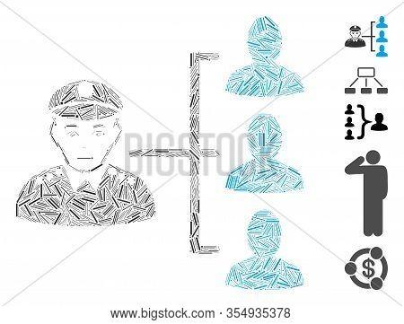 Line Collage Based On Officer Subordinates Icon. Mosaic Vector Officer Subordinates Is Designed With