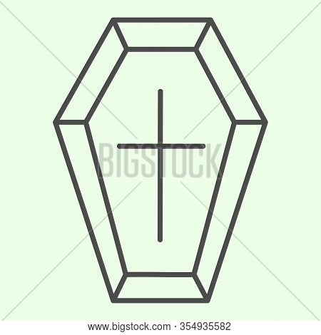 Coffin Thin Line Icon. Funeral Wooden Casket With Cross Outline Style Pictogram On White Background.