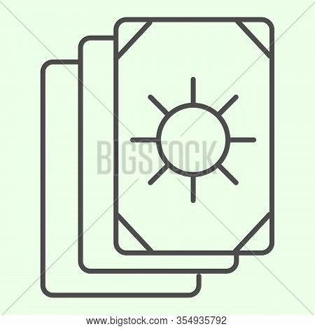 Tarot Cards Thin Line Icon. Oracle Card Stack With Sun Circle Image Outline Style Pictogram On White