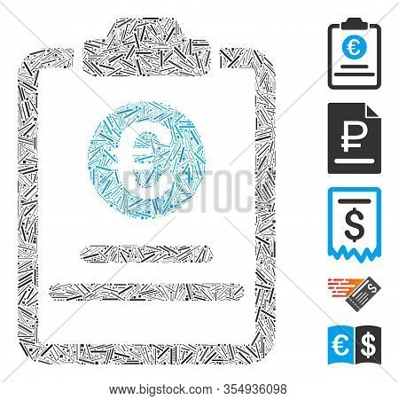 Line Mosaic Based On Euro Prices Pad Icon. Mosaic Vector Euro Prices Pad Is Composed With Scattered