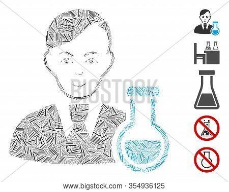 Dash Mosaic Based On Chemist Icon. Mosaic Vector Chemist Is Composed With Random Dash Items. Bonus I