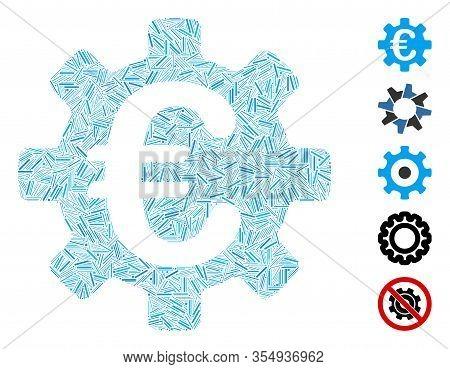 Line Mosaic Based On Euro Machinery Gear Icon. Mosaic Vector Euro Machinery Gear Is Created With Ran