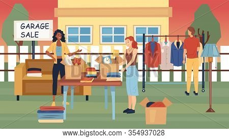 Garage Sale Concept. People Sale And Buy Used Things On The Street Near The House. Used Jewelry, Sty
