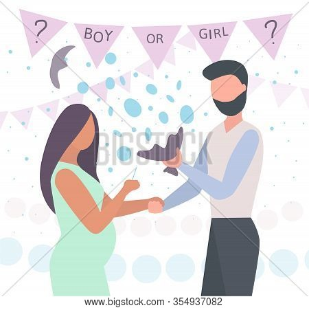 Baby Gender Reveal Announcement Party. Pregnant Woman Hold Spine. Husband Holds A Burst Balloon. Blu