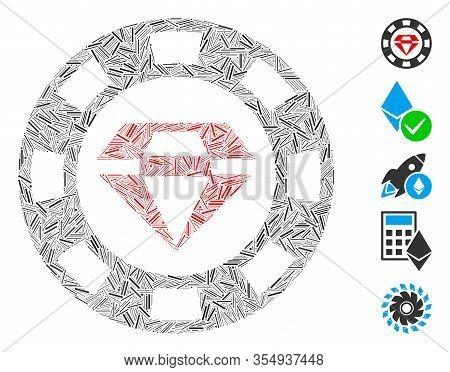 Dash Mosaic Based On Ruby Casino Chip Icon. Mosaic Vector Ruby Casino Chip Is Composed With Randomiz