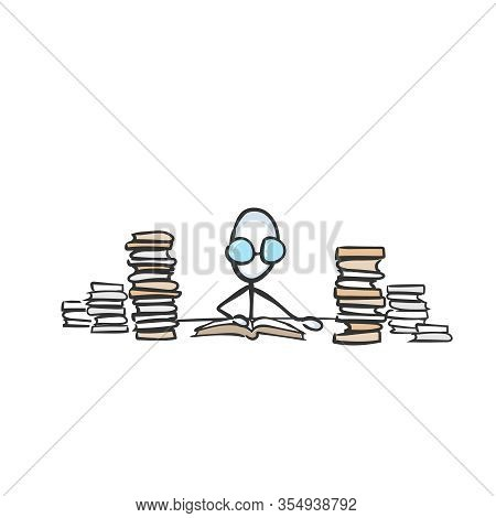 Nerd Studies In Library. Man Reading A Book. Education Books. Hand Drawn. Stickman Cartoon. Doodle S