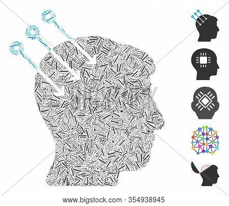 Line Mosaic Based On Neural Interface Connectors Icon. Mosaic Vector Neural Interface Connectors Is