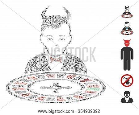 Dash Mosaic Based On Devil Roulette Croupier Icon. Mosaic Vector Devil Roulette Croupier Is Formed W